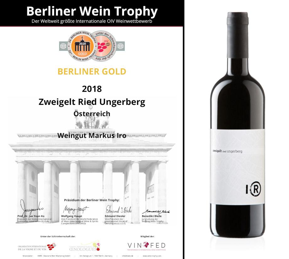 gold medaille für zweigelt ried ungerberg bei der berliner wein trophy 2020, weingut markus IRO